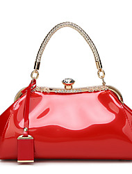 cheap -Women Bags Patent Leather Tote Crystal Detailing for Event/Party Casual All Seasons Black Red Blushing Pink Beige Wine
