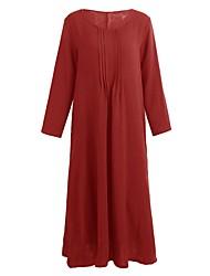 abordables -Femme Grandes Tailles Tunique Robe Couleur Pleine Col en U Maxi / Ample