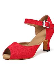Damen Latin Seide Sandalen Absätze Sneaker Innen Satin Blume Pailetten Kubanischer Absatz Rot 5 - 6,8 cm Maßfertigung