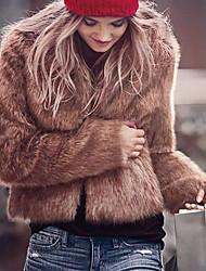 cheap -Women's Daily Work Simple Casual Active Street chic Winter Fall Fur Coat,Solid V Neck Long Sleeve Short Faux Fur