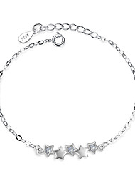 cheap -Women's Cubic Zirconia Sterling Silver Star Chain Bracelet - Silver Bracelet For Wedding Party