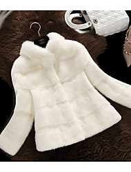 cheap -Women's Going out Simple Casual Winter Fall Fur Coat,Solid Stand Long Sleeve Short Polyester Fur Trim