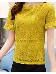 Women's Casual/Daily Simple T-shirt,Solid Round Neck Short Sleeves Cotton Linen Polyester