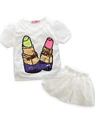 cheap -Girls' Clothing Set, Cotton Summer Short Sleeves White