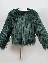 baratos -Para Meninas Jaqueta & Casaco Sólido Inverno Pêlo Sintético Tipo Especial de Pêlo Manga Longa Verde Rosa Bege