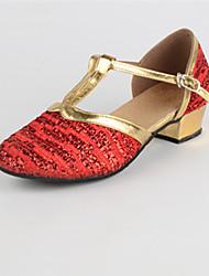 Недорогие -Жен. Обувь для модерна Блестки На низком каблуке Персонализируемая Танцевальная обувь Золотой / Красный / В помещении