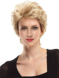 Women Human Hair Lace Wig Others Human Hair Lace Front 130% Density Layered Haircut Natural Wave Wig Strawberry Blonde/Bleach Blonde Short