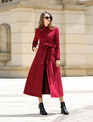 cheap -Women's Daily Work Simple Vintage Casual Winter Fall Coat,Solid Stand Long Sleeve Long Cashmere Wool Polyester
