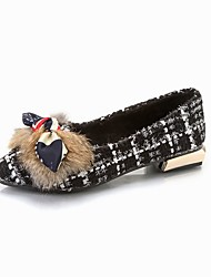 cheap -Women's Shoes Knit Cashmere Fall Comfort Flats Pointed Toe Bowknot For Casual Black White