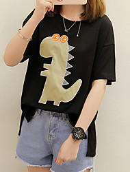 Women's Casual/Daily Cute T-shirt,Animal Print Embroidery Round Neck Short Sleeves Cotton