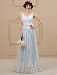 cheap -A-Line V Neck Floor Length Lace Organza Custom Wedding Dresses with Bow(s) Sashes / Ribbons by LAN TING BRIDE®