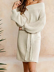 cheap -Women's Daily Going out Bodycon Sweater Dress,Solid Boat Neck Above Knee Long Sleeves Cotton Others Spring Fall Mid Rise Micro-elastic