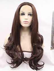 Women Synthetic Wig Lace Front Long Water Wave Brown Middle Part Sew in Natural Wigs Costume Wig