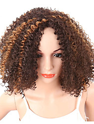 Women Synthetic Wig Capless Short Curly Kinky Curly Afro Brown African American Wig Middle Part Pixie Cut Party Wig Celebrity Wig