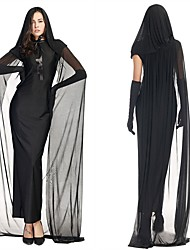 Ghost One Piece Dress Female Halloween Day of the Dead Festival / Holiday Halloween Costumes Black Solid Color