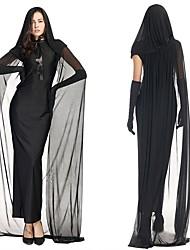 Esprit Une Pièce Robes Féminin Halloween Le jour des morts Fête / Célébration Déguisement d'Halloween Noir Couleur unie