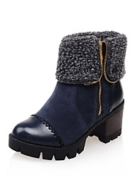 Women's Shoes Leatherette Fall Winter Fluff Lining Fashion Boots Boots Chunky Heel Round Toe Booties/Ankle Boots Split Joint Zipper For
