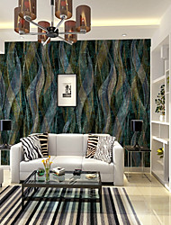 Damask 3D Geometric Pattern Wallpaper For Home Rustic Wall Covering , Canvas Material Adhesive required Mural , Room Wallcovering
