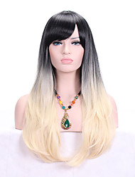 cheap -Women Synthetic Wig Capless Long Wavy Black/Strawberry Blonde Ombre Hair Dark Roots With Bangs Cosplay Wig Costume Wig