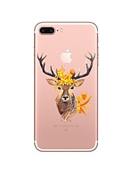 cheap -Case For Apple iPhone X iPhone 8 iPhone 8 Plus Transparent Pattern Back Cover Animal Christmas Soft TPU for iPhone X iPhone 8 Plus iPhone
