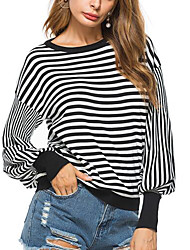 cheap -Women's Daily Going out Casual Sexy Summer Fall T-shirt,Striped Round Neck Long Sleeves Polyester Medium