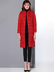 preiswerte -Damen Daunen Mantel,Standard Niedlich Chinoiserie Ausgehen Lässig/Alltäglich Solide-Nylon Weiße Entendaunen Langarm