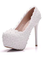 Femme Chaussures Polyuréthane Printemps Automne Confort Nouveauté Chaussures de mariage Bout rond Applique Perle Pour Mariage Soirée &