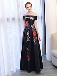 cheap -A-Line Off-the-shoulder Ankle Length Satin Satin Chiffon Formal Evening Dress with Embroidery by Embroidered Bridal