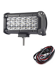 54W 5400LM 6000K 3-Rows LED Work Light Cool White Flood Offroad Driving Light for Car/Boat/Headlight IP68 9-32V  2m 1-To-1 Wiring Harness Kit