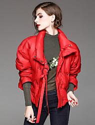 Manteau Doudoune Femme,Normal Garder au chaud Sortie Décontracté / Quotidien Couleur Pleine-Nylon Duvet d'Oie Blanche Manches Longues