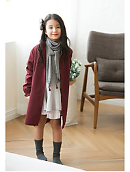 Girls' Solid Jacket & Coat,Cotton Winter Long Sleeve Dresswear Black Wine