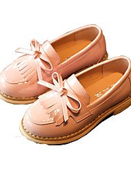 Girls' Shoes Synthetic Microfiber PU Spring Fall Flower Girl Shoes Fashion Boots Loafers & Slip-Ons Bowknot Tassel For Wedding Dress