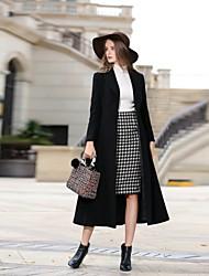 Недорогие -Для женщин На каждый день Офис Осень Зима Пальто Лацкан с тупым углом,Простой Винтаж Уличный стиль Однотонный Длинная Длинный рукав,