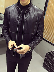 Men's Casual/Daily Simple Fall Leather Jacket,Solid Stand Long Sleeve Regular PU