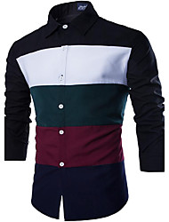 cheap -Men's Daily Going out Vintage Casual Summer Fall Shirt,Solid Classic Collar Long Sleeves Cotton Medium