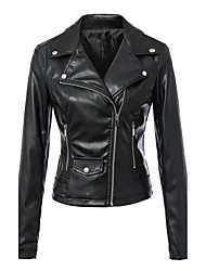 cheap -Women's Holiday Street chic Fall Leather Jacket,Solid Notch Lapel Long Sleeve Short Faux Leather