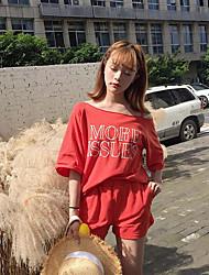 Damen Druck Einfach Ausgehen T-Shirt-Ärmel Hose Anzüge,Rundhalsausschnitt Sommer Kurzarm