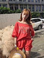 abordables -Mujer Simple Noche Verano T-Shirt Pantalón Trajes,Escote Redondo Estampado Manga Corta