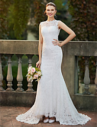 cheap -Mermaid / Trumpet High Neck Sweep / Brush Train Stretch Satin All Over Lace Custom Wedding Dresses with Appliques Lace by LAN TING BRIDE®