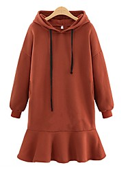 cheap -Women's Plus Size Plus Size Daily Street chic Hoodie Solid Hooded Inelastic Cotton Rayon Long Sleeve Fall Winter