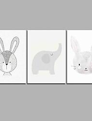 Недорогие -слон& ddouble rabbit 3-х частей современного искусства настенного искусства для украшения комнаты 20x28inchx3