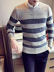 Men's Casual/Daily Simple Regular Pullover,Color Block Round Neck Long Sleeves Wool Fall Medium Micro-elastic