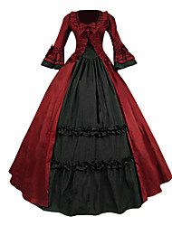 cheap -Medieval Victorian Costume Women's Party Costume Masquerade Red Vintage Cosplay Lace Cotton Terylene Long Sleeves