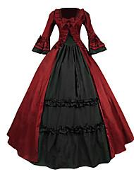 abordables -Epoque Médiévale Victorien Costume Femme Robes Bal Masqué Costume de Soirée Rouge Vintage Cosplay Dentelle Coton Térylène Manches Longues