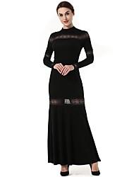 Moulante Balançoire Robe Femme Soirée Vintage,Couleur Pleine Mosaïque Col Ras du Cou Maxi Manches Longues Polyester Automne Hiver Taille