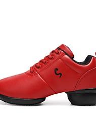 preiswerte -Unisex Tanz-Turnschuh Kunstleder Sneaker Farbaufsatz Geteilte Sohle Rot Maßfertigung