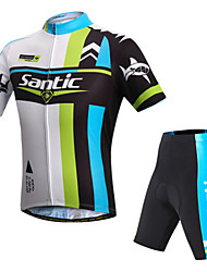 abordables -SANTIC Hombre Manga Corta Maillot de Ciclismo con Shorts - Verde Bicicleta Shorts/Malla corta Pantalones Cortos Acolchados