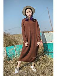 Tricot Robe Femme Soirée Décontracté / Quotidien Couleur Pleine Capuche Maxi Manches Longues Coton Autres Printemps Automne Taille Normale