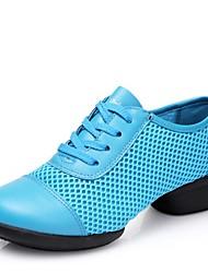 cheap -Women's Dance Sneakers Tulle Split Sole Sneaker Outdoor Low Heel Blue Red Fuchsia Black 1 - 1 3/4