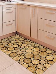 cheap -DIY 3D Many Wooden Log Anti-slip Floor Stickers Home Decor PVC Waterproof Wood Pattern Floor Anti-slip Ground Decal for Kids Room 60*120cm
